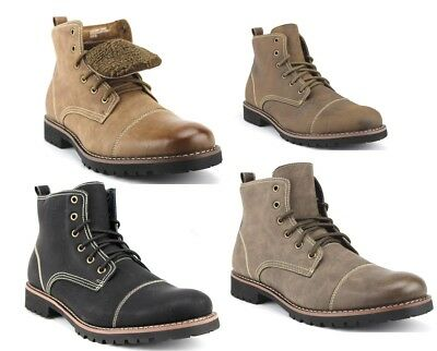 Ferro Aldo Mens Ankle High Cap Toe Fleece Lined Military Combat Winter Boots