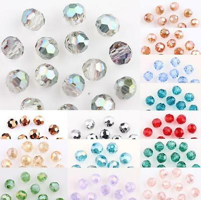 50100Pcs AB Plated Faceted Czech Crystal Glass Round Loose Spacer Bead 4MM DIY