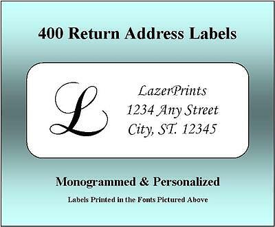 Monogrammed - Personalized Return Address Labels-  400 Count 12 x 1-75 Inch-