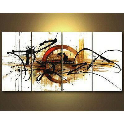 Original Canvas Hand Paint Oil Painting Wall Art Home Decor Abstract Brown Frame