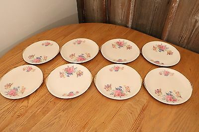 Paden City Pottery Rosalee China Dinner Plate 10 Set Of 8 Made in USA 1930s