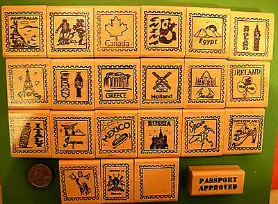 Country and Continent Passport Stamp Frame Rubber Stamps wood mtd- your choice