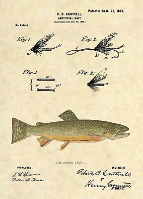 Official Fishing Lure US Patent Art Print- Antique Brook Trout Fish Reel Fly 387
