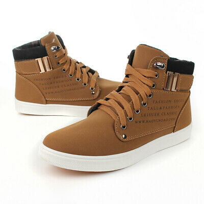 Mens Oxfords Casual High Top Shoes Winter Boots Leather Shoes Canvas Sneakers