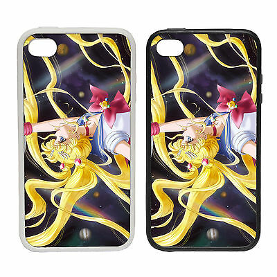 ANIME SPACE HAIR RUBBER AND PLASTIC PHONE COVER CASE MOON BLONDE GIRL SAILOR