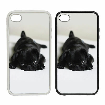 BLACK PUG ON A BED RUBBER AND PLASTIC PHONE COVER CASE CUDDLY CUTE PET DESIGN