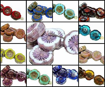 CHOOSE COLOR 6pcs 12mm Table Cut Flower Beads Czech Glass