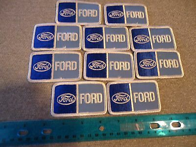 Lot of (10) Vintage Ford Service Blue & White Patches New Old Stock