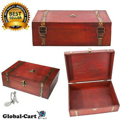 Treasure Box Pirate Vintage Jewelry Storage Wooden for Gift And House Decoration