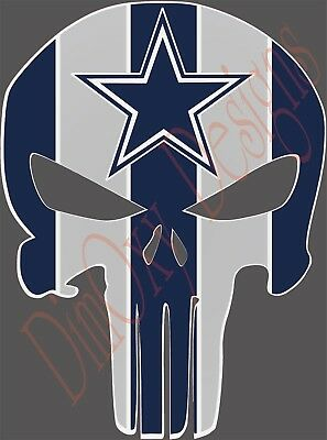 Dallas Cowboys Punisher skull stickerDecal for CarTruckBoat 3-24 DCP1