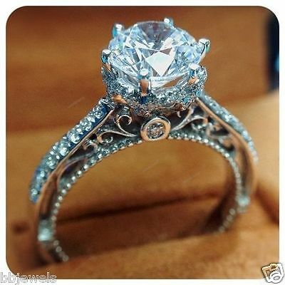 Womens 925 Silver Solitaire Round Cut Diamond Engagement Ring 14K White Gold