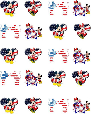 Red White - Blue Mouseketeers 4th of July Waterslide Nail DecalsNail art