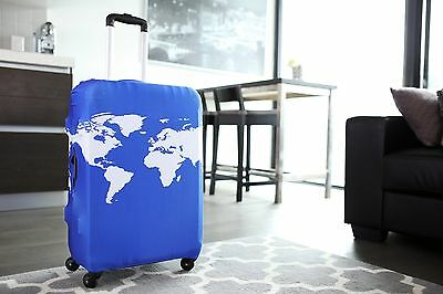 American Tourister - Luggage Suitcase Cover World Map Cobalt Blue Fits 24-27
