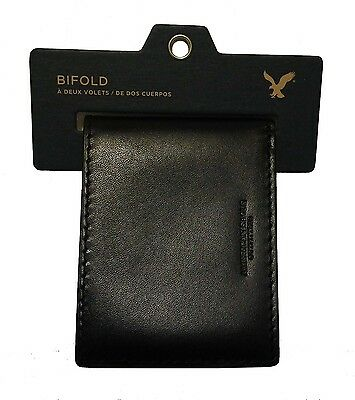 NWT AMERICAN EAGLE OUTFITTERS MENS LEATHER BIFOLD WALLET NEW  BLACKBROWN AEO