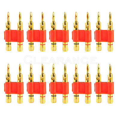 10 pcs red dual Banana post speaker cable wire plug connector