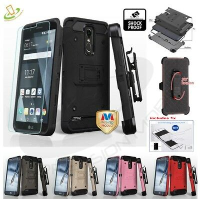 For LG Stylo 3 Hybrid Impact Armor Rugged Hard Case Cover Clip Holster - Screen