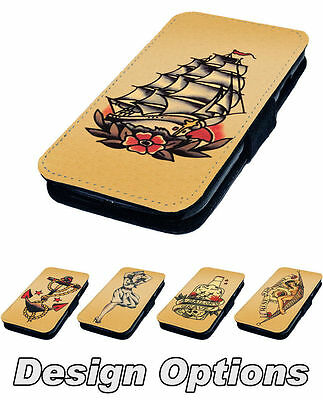 SAILOR TATTOO DESIGNS PRINTED FAUX LEATHER FLIP PHONE COVER CASE STYLE 2 2