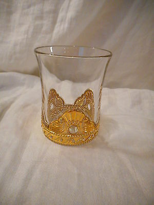 Clear Antique EAPG Glass or Tumbler Colorado Pattern US Glass Gold Encrusted