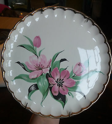 One W- S- George Purple Flowers Luncheon Plate Gold Trim