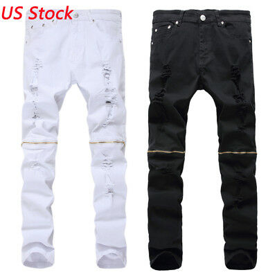 Mens Ripped Jeans Slim Fit Straight Leg Zipper Tapered Stretchy Distressed Pants