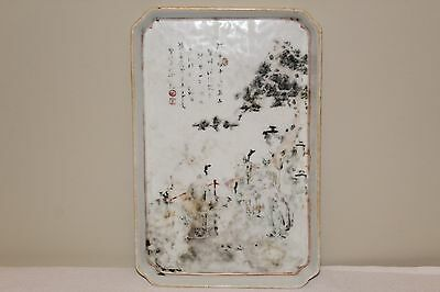 PERFECT ANTIQUE 19TH C CHINESE GRISAILLE PORCELAIN TRAY OF CHINESE ELDERS