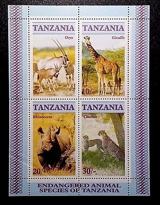 TANZANIA 1986 Sc322a SS OF STAMPS WILD ANIMALS Mint NH OG XF book3
