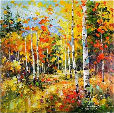 Russian Impressionist Autumn Landscape Signed Oil Painting On Canvas 32x 32
