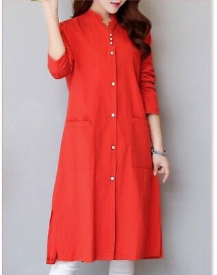 Womens 34 Sleeved Buttoned Covered Red Silted Dress Sz- LXL New