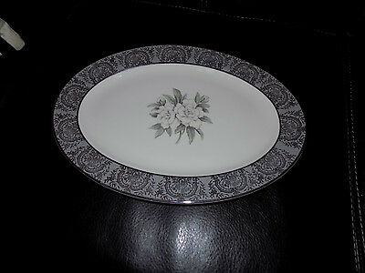 Vintage Large 15 Oval Serving Platter in Silver Gardenia China by Royal Cathay