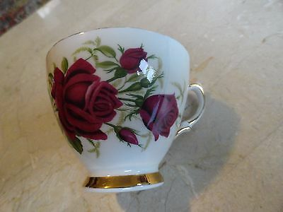Ridgway Colclough Red Rose Footed Cup wGold Trim