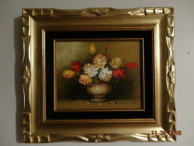 Vintage  Floral Oil on Canvas Original Painting signed