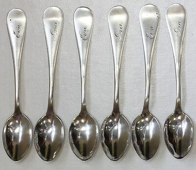 RARE ANTIQUE SET OF 6 STERLING SILVER DEMITASSE SPOONS - OXFORD HALL
