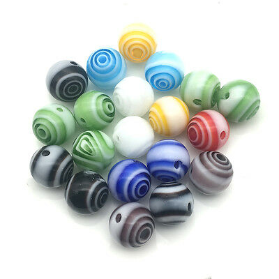 8mm20Pcs Stripe Glass Beads Assorted Colors of Jewelry Findings for Bracelt