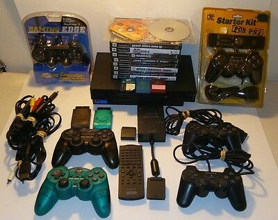 PLAYSTATION 2 CONSOLE BUNDLE LOT 10- GAMES 6 CONTROLLERS