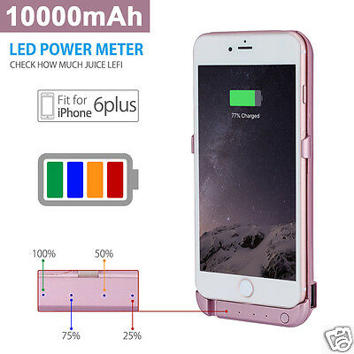External Battery Cover Case Power Bank for Apple iPhone 6 Plus Rose Gold