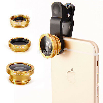 3 in 1 Fish Eye-Wide Angle-Macro Clip On Camera Lens Kit for Smart Phone Tablet