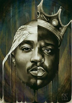 Notorious B-I-G Biggie Smalls Tupac Shakur Art silk poster 12x18 24x3624x43
