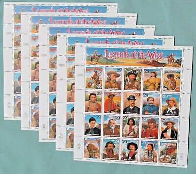 New 100 5 sheets x 20 LEGENDS OF THE WEST 29 ¢ US Postage Stamps- Scott  2869