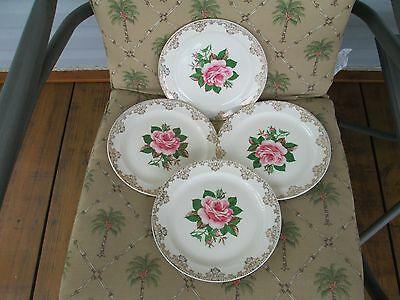 4XVintage Paden City Pottery American Rose Warranted 22K Dinner Plates 9 14