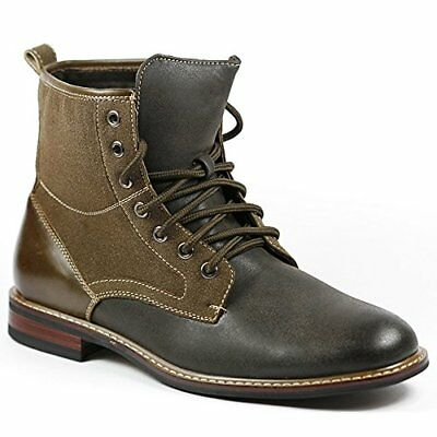 Mens Ferro Aldo 808562 Tall Gray Brown Military Combat Army Ankle Dress Boots