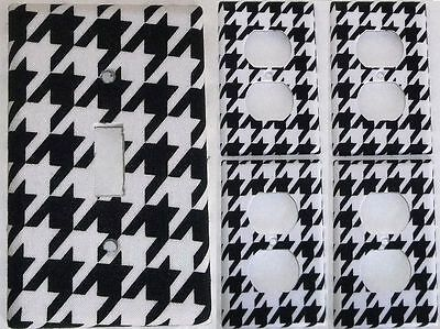 Black White Houndstooth Girls light switch covers Set Of 5 Bedroom Wall Decor