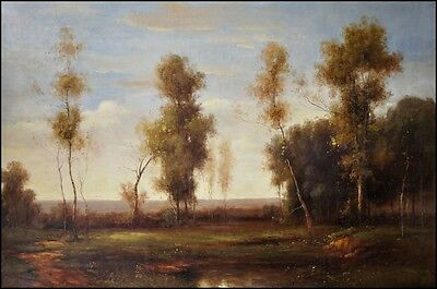 Signed Landscape Original French Impressionist Oil On Canvas Painting 48x 72