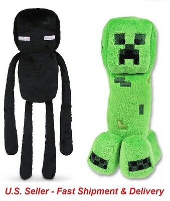 Set of 2 Minecraft Plush Toys - Creeper and Enderman