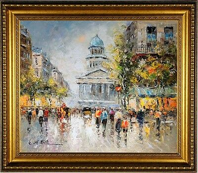 Original French Impressionist Framed Oil Painting On Canvas Signed Paris Scene