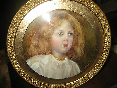 Antique Miniature Portrait Painting Of A Child Painted On Ivory