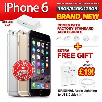 New - Sealed Factory Unlocked APPLE iPhone 6 16 64 128GB Space Grey Gold Silver