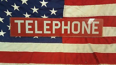 ORIGINAL 1960S VINTAGE GLASS TELEPHONE BOOTH INSERT PANEL SIGN RED WHITE