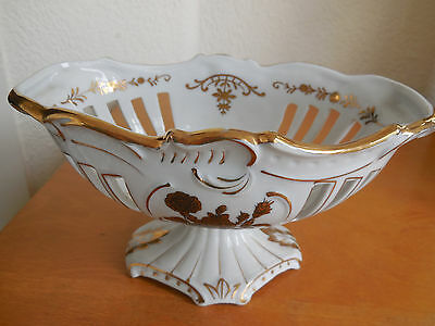 VTG ANTIQUE PORCELAIN Reticulated Footed Bowl Compote  BLUE CROSSED ARROW MARK