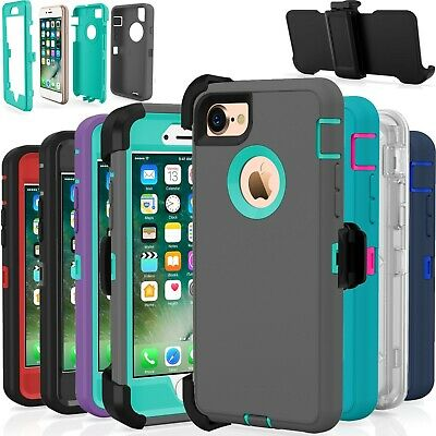 Shockproof Hard Case Cover For Apple iPhone 7  8  Plus Fits Otterbox Belt Clip