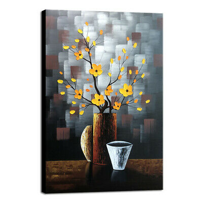 Original Hand Paint Oil Painting on Canvas Wall Art Decor Floral Brown Framed